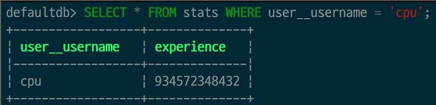 SQL statement showing that the CPU player has lots of experience